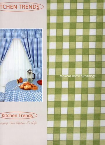 KITCHEN COTTON PVC TABLECLOTH SQUARE 52x52 CHECK GREEN